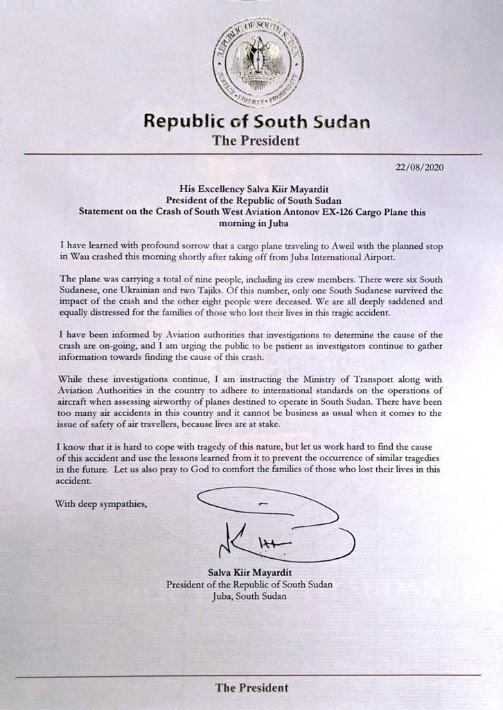 Carta Presidente Sudão do Sul Aviação
