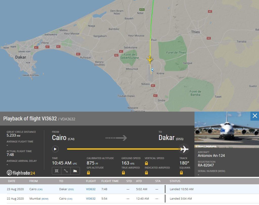FlightRadar24 Voo Antonov AN-124 Cairo Senegal Brasil
