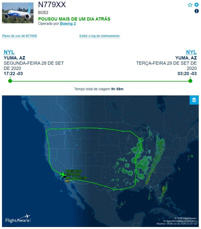 FlightAware Voo 777X 10 Horas