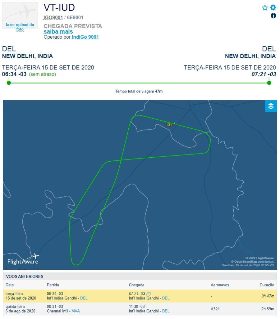 FlightAware Voo Teste A321neo IndiGo Pouso Duro