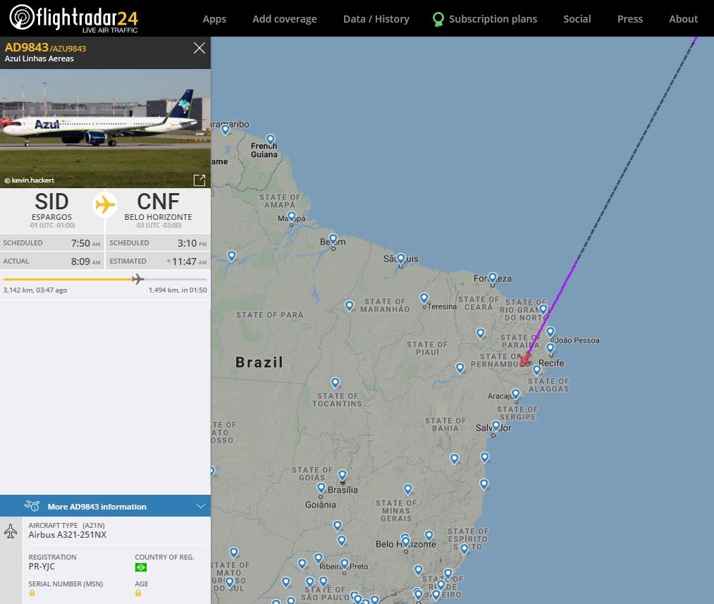 FlightRadar24 Voo Terceiro A321neo Azul Brasil