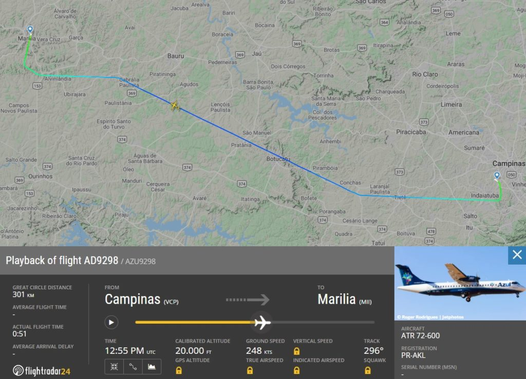 FlightRadar24 Voo ATR 72 Azul Marília