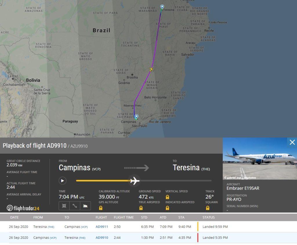 FlightRadar24 Primeiro Voo Comercial E195 Azul Cargo