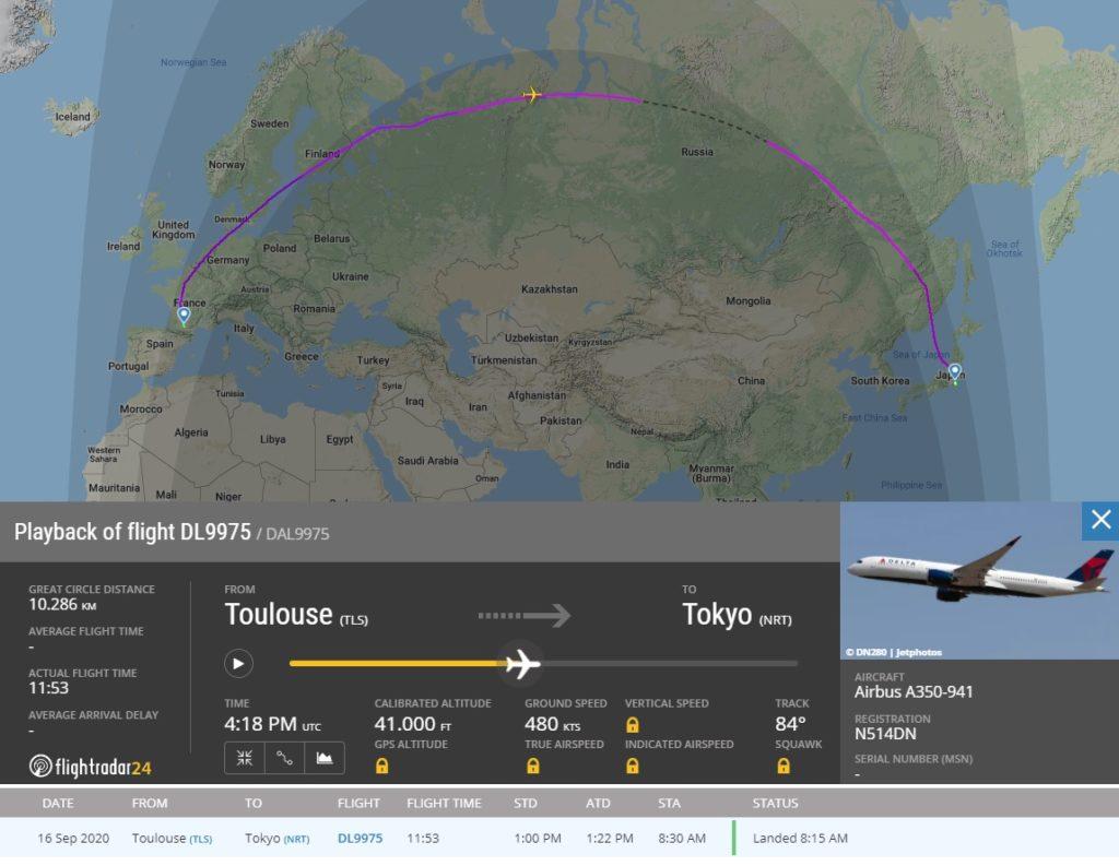 FlightRadar24 Voo Delta Novo A350 Tóquio
