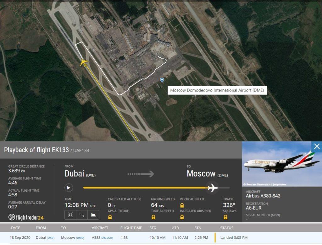 FlightRadar24 Voo Emirates A380 Moscou