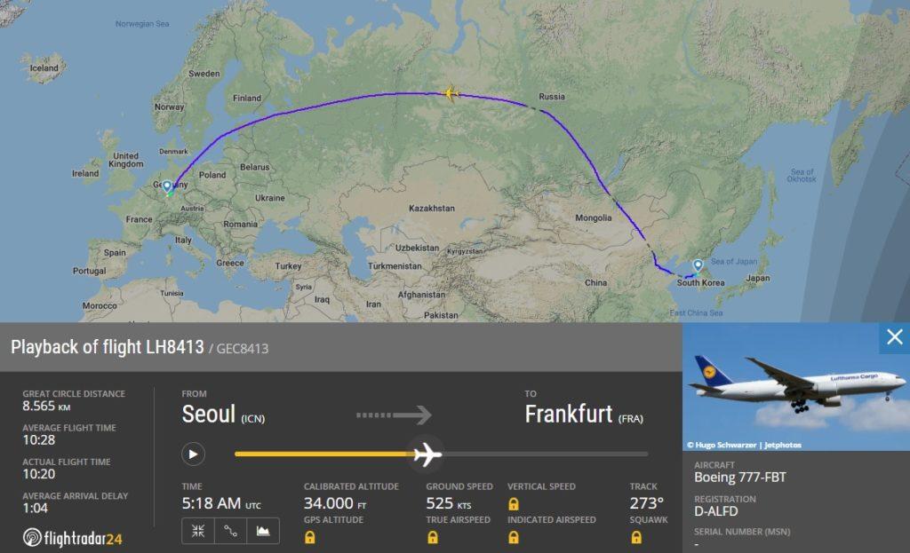 FlightRadar24 Voo 777F -D-ALFD Seul Frankfurt