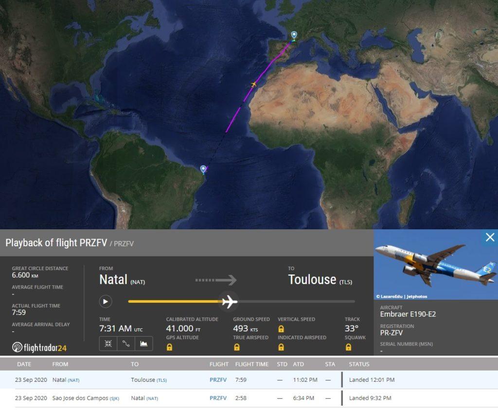 FlightRadar24 Voo E190-E2 PR-ZFV Toulouse