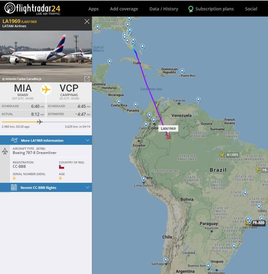 FlightRadar24 Voo 787-8 LATAM Viracopos