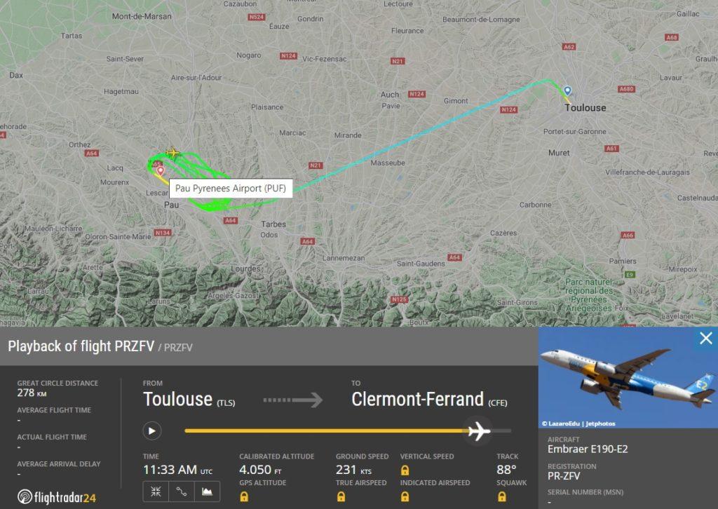 FlightRadar24 Voo Protótipo E190-E2 Chateauroux