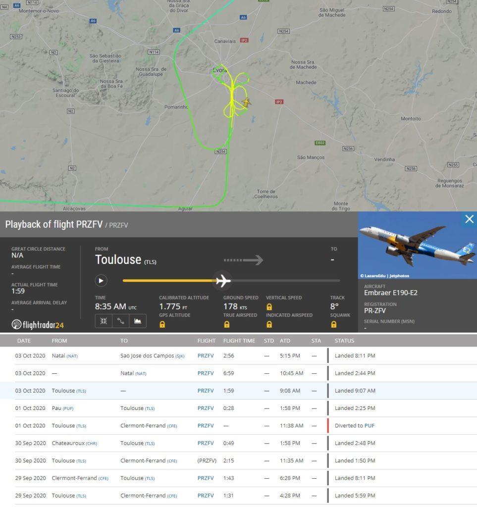 FlightRadar24 Voo Protótipo E190-E2 Évora