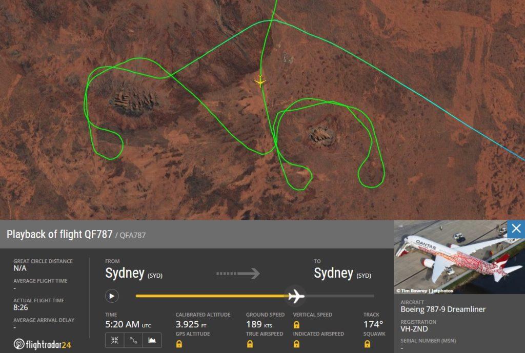 FlightRadar24 Voo Panorâmico Qantas Austrália