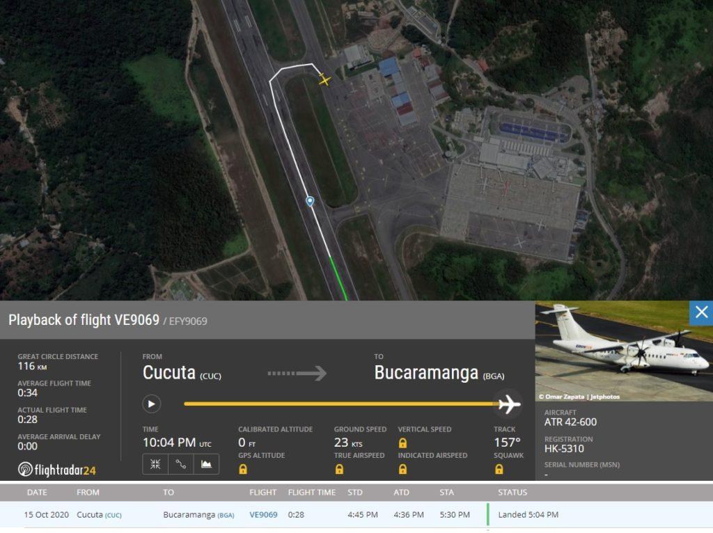 FlightRadar24 Voo easyfly incidente Bucaramanga