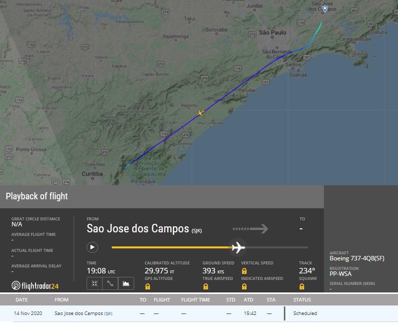 FlightRadar24 Voo PP-WSA Boeing 737-400F Sideral Amarelo