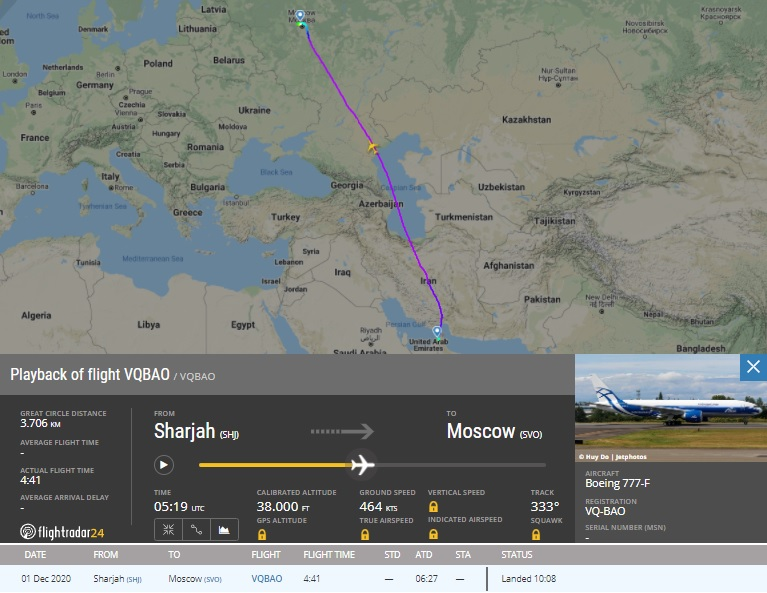FlightRadar24 777F AirBridge Cargo Volga