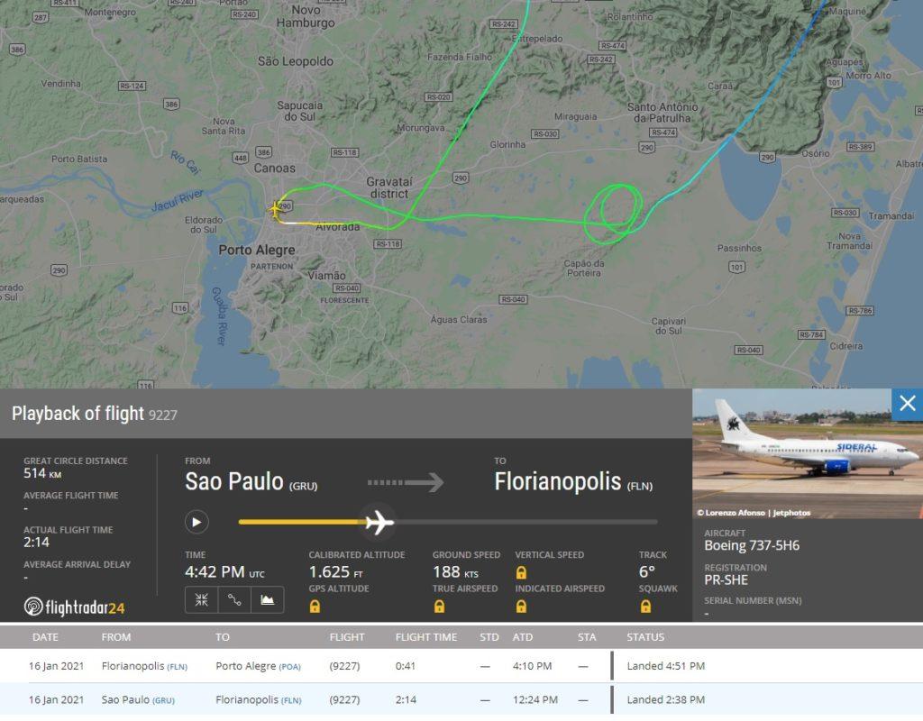 FlightRadar24 Arremetida Boeing 737 avião time Grêmio