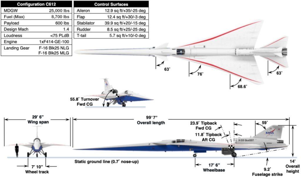 NASA Avião X-59 Quiet QueSST Supersônico Silencioso Specifications